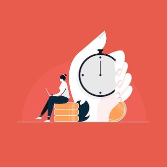 Arbeitszeitkonzept, geschäftsfrauenkonzept von zeitmanagement und aufschub, illustration des arbeitsdrucks