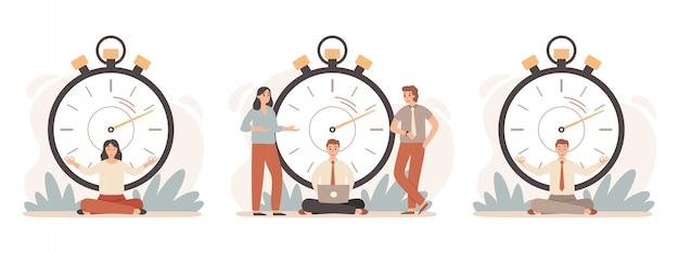 Arbeitszeitmanagement. geschäftsleute, die mit stoppuhr, schnellen aufgaben und zeitstopp-illustrationssatz arbeiten