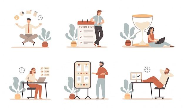 Arbeitszeitmanagement. planen von aufgaben, terminstrategie und büroangestellten, die mit einem laptop-illustrationssatz arbeiten