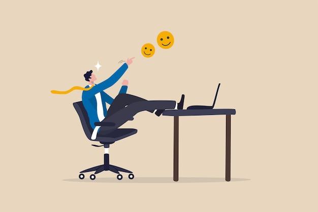 Arbeitszufriedenheit, arbeitsglück, lieben sie ihre karriere oder motivation, zur arbeit zu gehen, wertschätzung nach beendigung der arbeit, glücklicher geschäftsmann mit fröhlichen und positiven emotionen, der seine abschlussarbeit feiert.