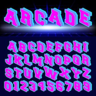 Arcade-alphabet schriftgestaltung
