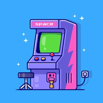 Arcade machine cartoon icon illustration.