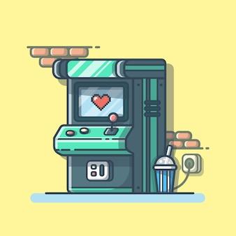 Arcade-maschine mit soda. kinderzone. arcade-spiel spielen symbol isoliert