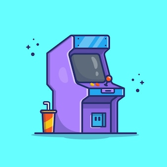 Arcade-maschine mit soda-symbol-illustration. technologie-spiel-symbol-konzept isoliert. flacher cartoon-stil