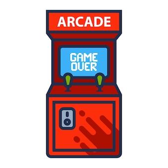 Arcade-maschinensymbol mit spiel über dem bildschirm. flache vektorillustration.