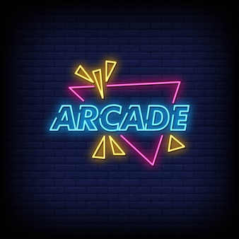 Arcade neon signs style text