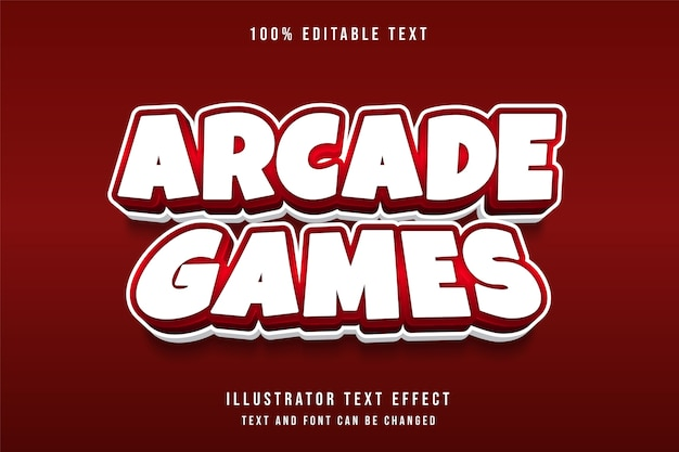 Arcade-spiele, 3d bearbeitbarer texteffekt roter abstufungsspielstil-effekt