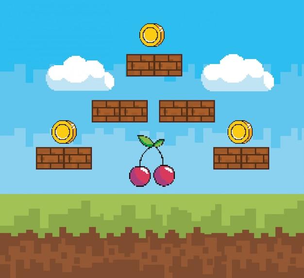 Arcade-spielwelt und pixelszene