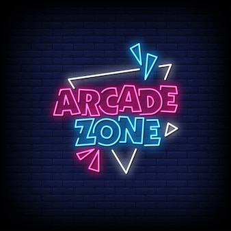 Arcade zone neon signs style text