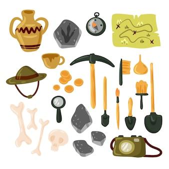 Archäologie-symbolsatz