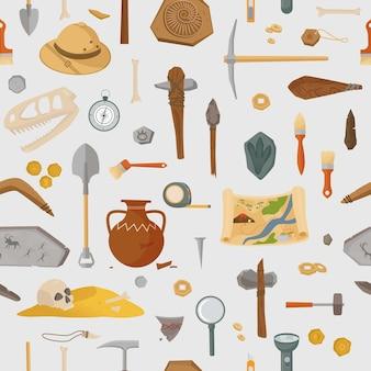 Archäologische alte funde und nahtloses muster der werkzeuge. prähistorische forschung und antike funde antiker waffen und artefakte in grabhügeln und krypten. vektor alte zivilisation.