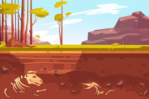 Archäologische ausgrabungen in naturlandschaft
