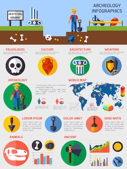 Archäologische infographics mit elementen alter artefakte