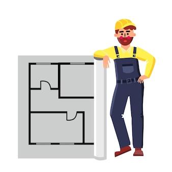 Architekt builder mit layout haus plan
