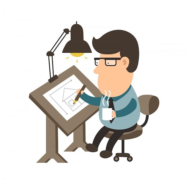 Architekt, der an dem schreibtischmessen arbeitet. hausprojekt. zeichner flache abbildung moderne symbol charakter. isoliert auf weiss