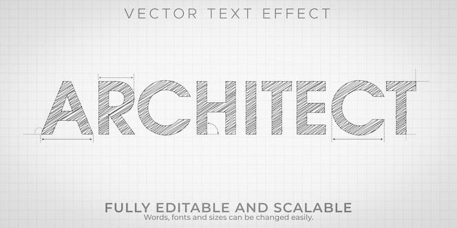 Architekt, der texteffekt, bearbeitbares engineering und architektonischen textstil zeichnet