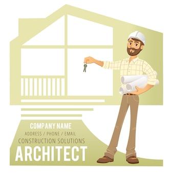 Architekt im sturzhelm mit schlüsseln in der hand, front des konstruierten hauses, häuschen. zeichen bauingenieur.