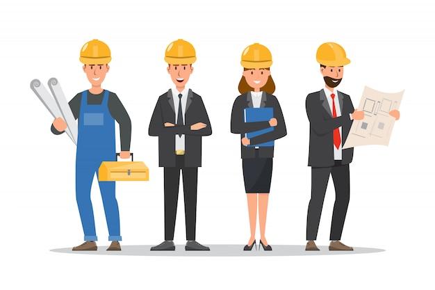 Architekt, vorarbeiter, ingenieur bauarbeiter in verschiedenen charakteren