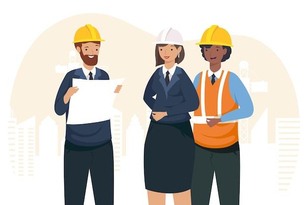 Architekten und ingenieurin mit helmen design der konstruktion umbau und arbeitsthema vektor-illustration