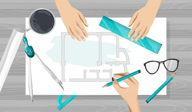Architektenhände, die eine blaupause mit linealen, kompass und bleistift zeichnen