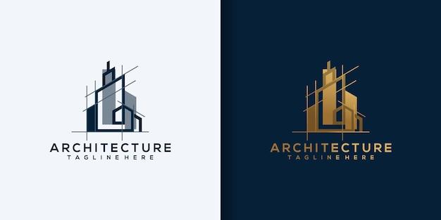 Architektenhaus-logo, architektur- und konstruktionsdesignvektor
