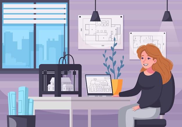 Architektenkarikaturkomposition mit innenlandschaft des weiblichen architektenarbeitsplatzes mit projektschemata und laptop