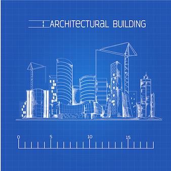 Architektonische gebäude blaupause