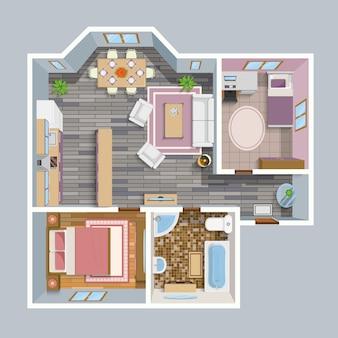 Architektonischer flacher plan-draufsicht