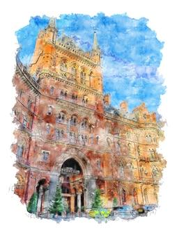 Architektonisches gebäude aquarellskizze handgezeichnete illustration