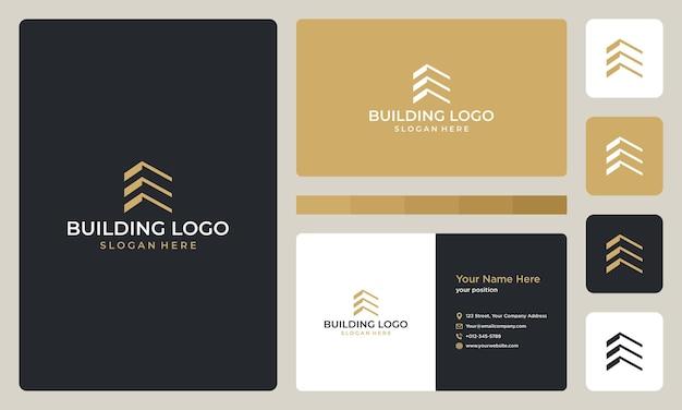 Architektonisches gebäudelogo und visitenkarten-designvorlage