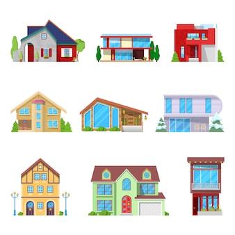 Architektonisches set für moderne häuser und cottage-gebäude.