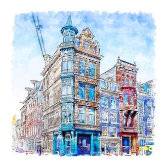 Architektur amsterdam niederlande aquarell handgezeichnete illustration