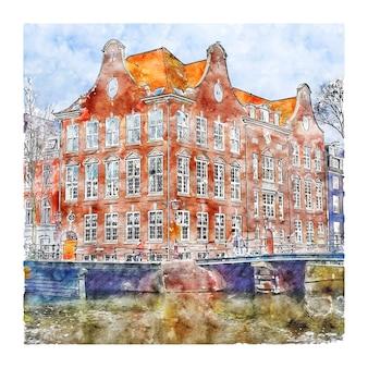 Architektur amsterdam niederlande aquarellskizze handgezeichnete illustration
