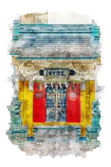 Architektur-china-tempel-schrein shinto meiji aquarellskizze handgezeichnete illustration