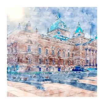 Architektur deutschland aquarellskizze handgezeichnete illustration