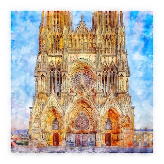 Architektur frankreich aquarell skizze hand gezeichnete illustration
