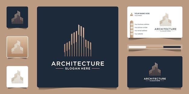 Architektur-immobilien-logo elegante einfache strichzeichnungen und visitenkartenvorlage