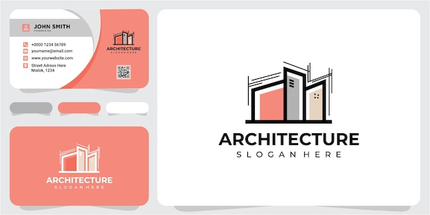 Architektur-logo-design-inspirationen mit visitenkarte. buntes architektur-logo-design