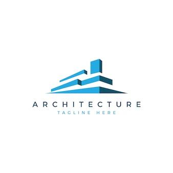 Architektur logo gebäude blau