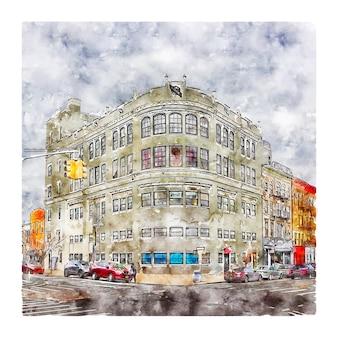 Architektur new york aquarell skizze hand gezeichnete illustration