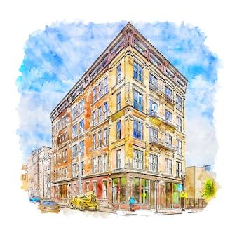 Architektur ohio usa aquarell skizze hand gezeichnete illustration