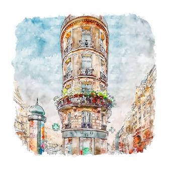 Architektur paris frankreich aquarell skizze hand gezeichnete illustration