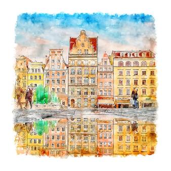 Architektur polen aquarell handgezeichnete illustration Premium Vektoren