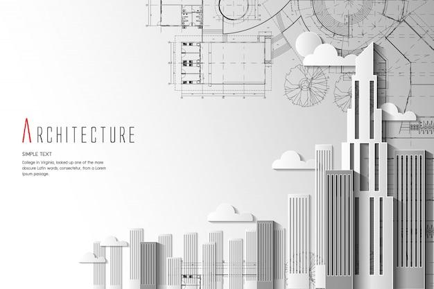 Architektur- und blaupausenhintergrund papierkunstart.