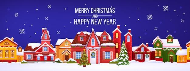 Architektur- und neujahrsarchitekturpostkarte 2021 mit traditionellen gebäuden außen, schnee, weihnachtsbaum, schneeflocken. feiertagsabendhintergrund mit festlicher stadtstraße. weihnachtsarchitekturgruß