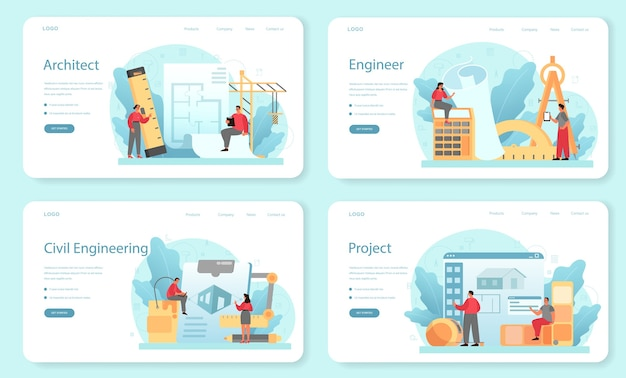 Architektur-webbanner oder landingpage-set