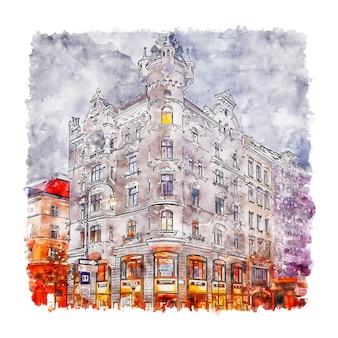 Architektur wien österreich aquarell skizze hand gezeichnete illustration