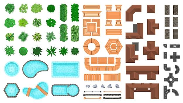 Architekturlandschaftsgegenstände. außenansicht der stadt bäume, häuser, straßen und holzmöbel