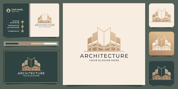 Architekturlogo mit visitenkartenvorlage. bau, baumeister, gebäude, goldfarbe, banner und visitenkarte, logo-inspiration. premium-vektor