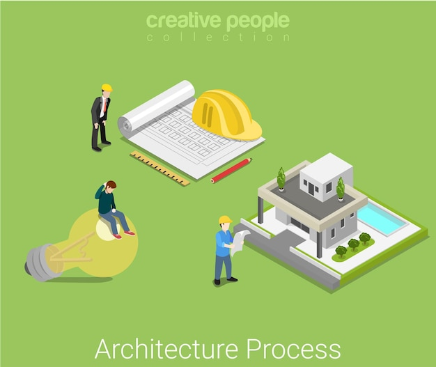 Architekturplanprozess. idee skizzieren architekturplan fertige hausvilla. geschäftskonzept der flachen isometrischen konstruktion